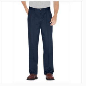 Dickies Navy Cotton Pleated Front Dress Pants 34